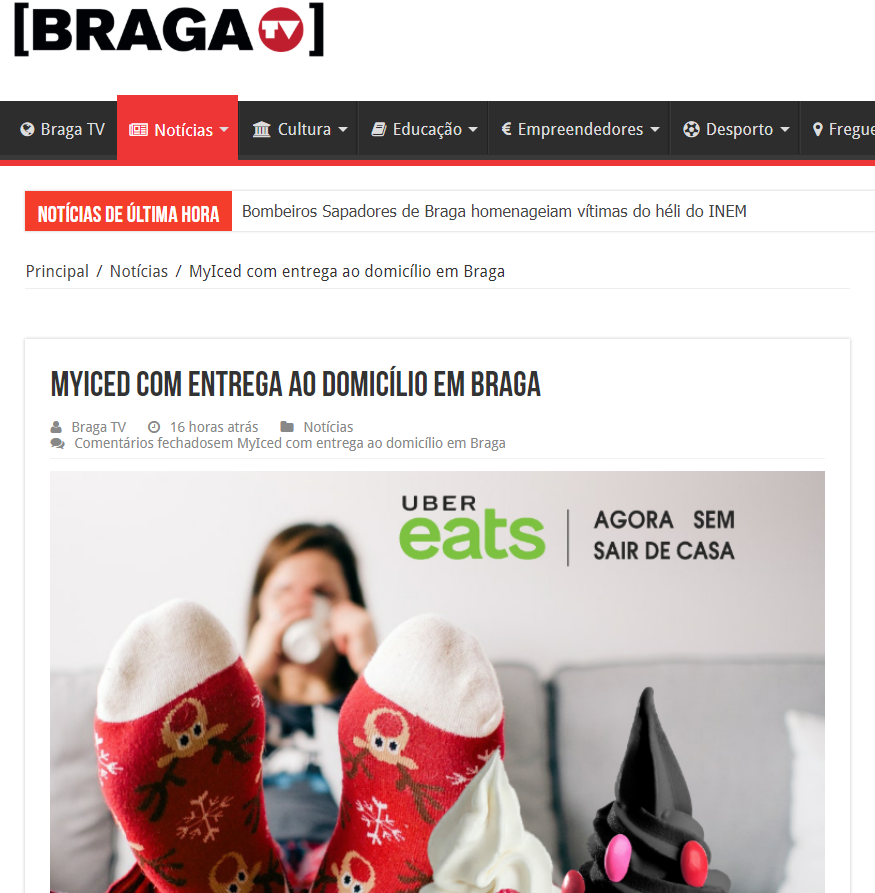 Braga TV - Myiced - Ubereats