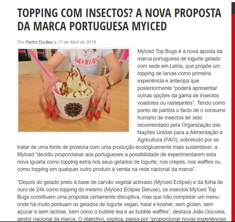 TOPPING COM INSECTOS? A NOVA PROPOSTA DA MARCA PORTUGUESA MYICED