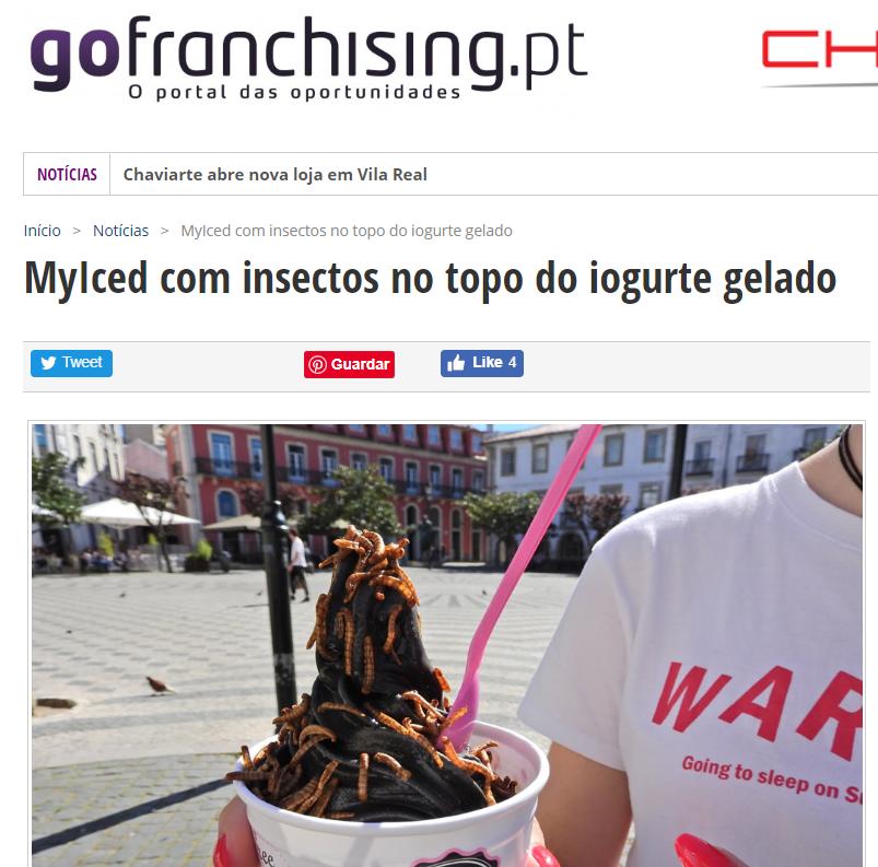 Gofranchising, MyIced com insectos no topo do iogurte gelado