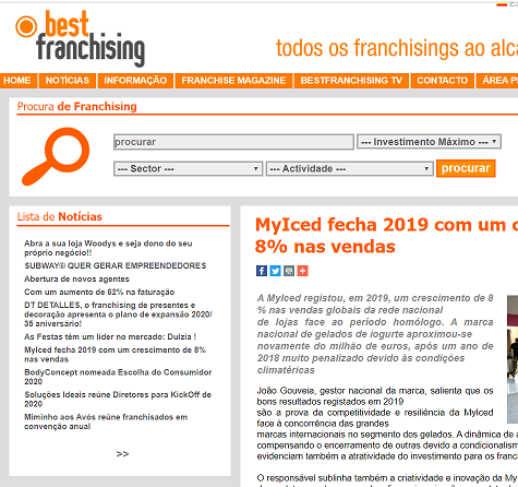 BestFranchising - MyIced fecha 2019 com um crescimento de 8% nas vendas