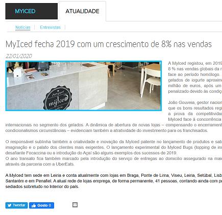 Comprar Franchising - MyIced fecha 2019 com um crescimento de 8% nas vendas