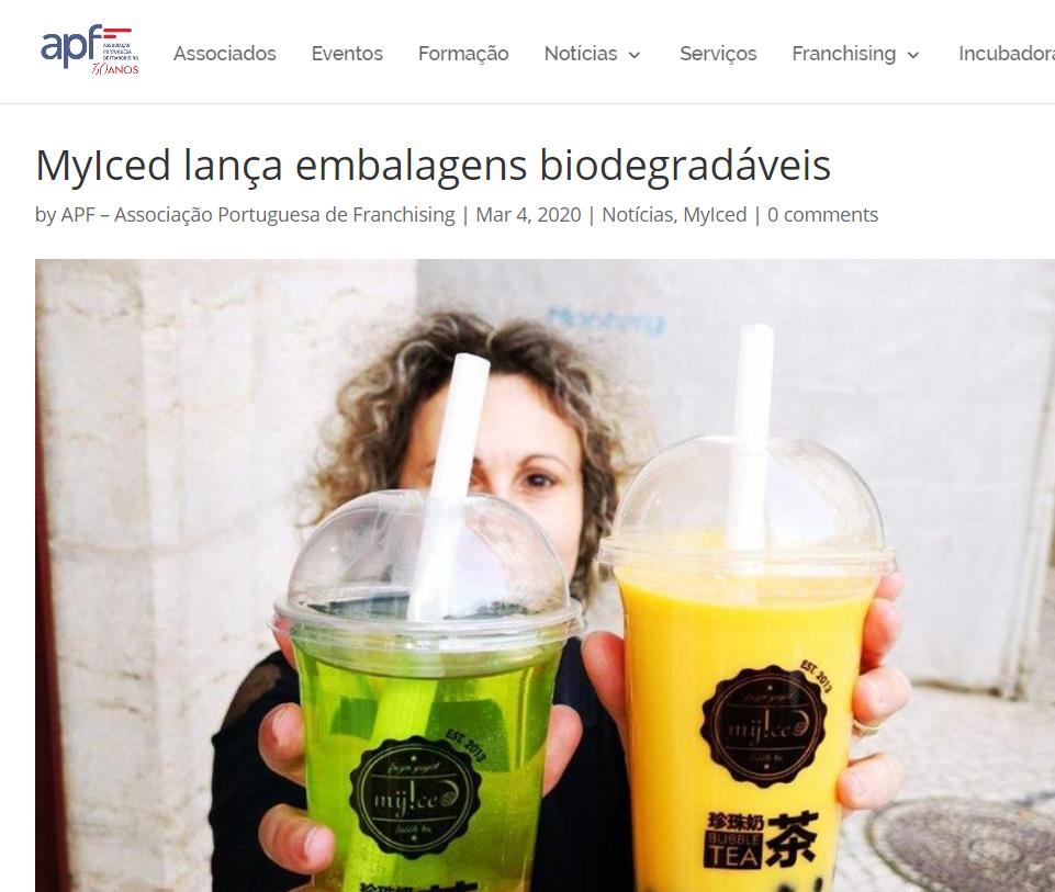 Associação Portuguesa de Franchising MyIced lança embalagens biodegradáveis
