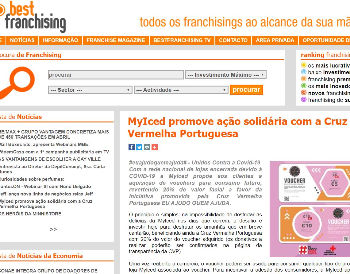 BestFranchising - MyIced promove ação solidária com a Cruz Vermelha Portuguesa