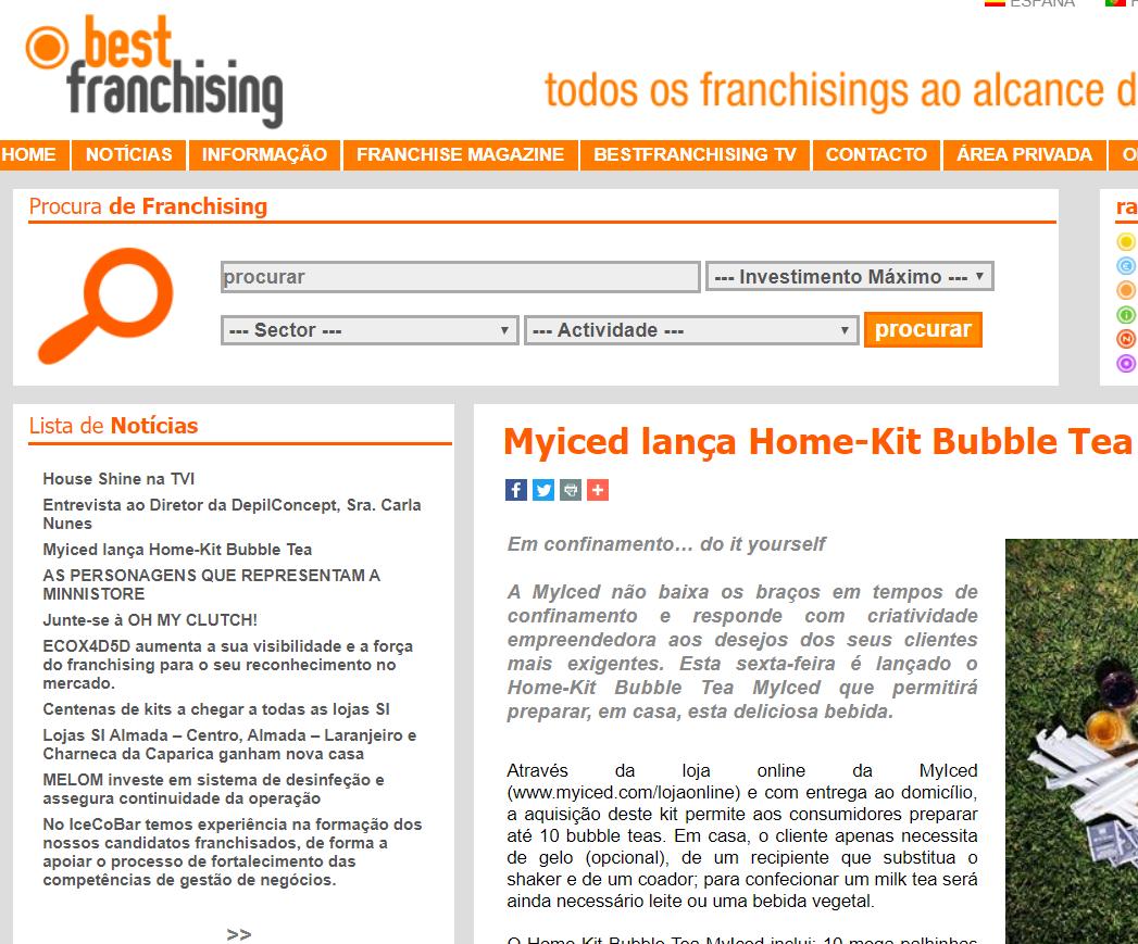 BestFranchising - Myiced lança Home-Kit Bubble Tea
