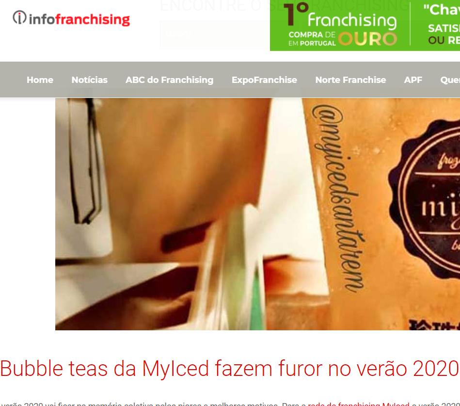 InfoFranchising - Bubble teas da MyIced fazem furor no verão 2020