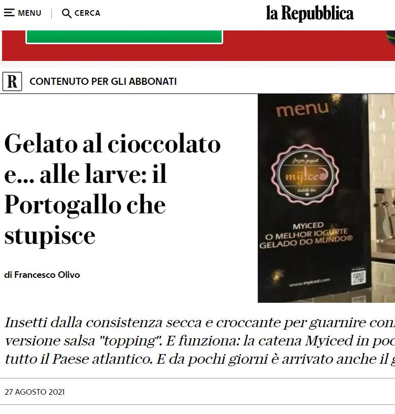La Repubblica - Gelato al cioccolato e... alle larve... il Portogallo che stupisce... Myiced